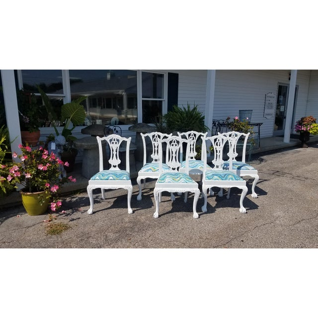 Set of 6 White Chippendale Dining Chairs For Sale - Image 12 of 12