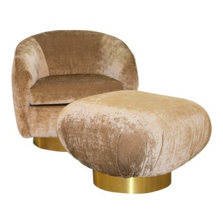 Preview Swivel Chair and Swivel Ottoman With Brass Banded Bases For Sale
