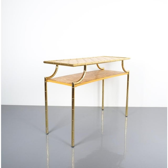 Brass Bamboo Brass Console Table and Mirror, Italy 1950 For Sale - Image 7 of 13