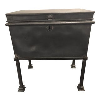 1920s Vintage Steel Storage Box on Custom Steel Stand For Sale