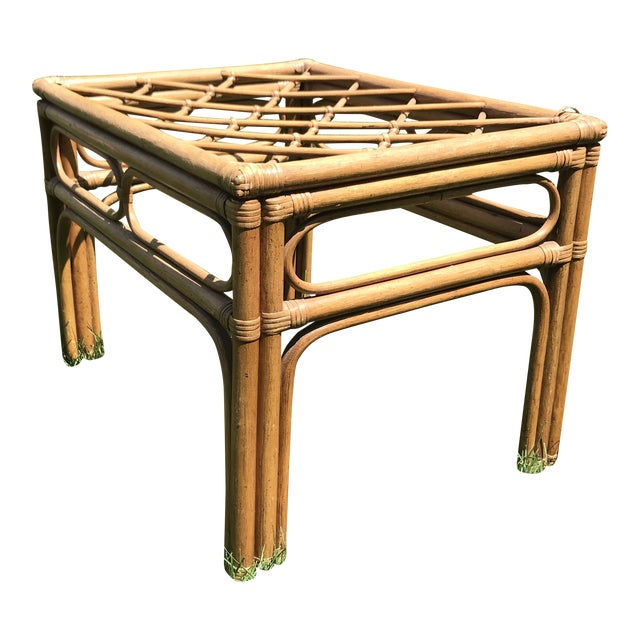 Vintage Bamboo Rattan Side Table For Sale
