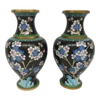 Cloisonné Cherry Blossom Vases - A Pair