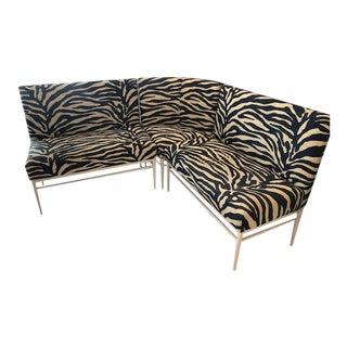 Custom Zebra Print Banquette - Set of 3 For Sale