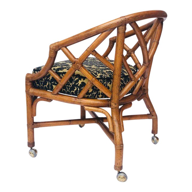 1970's Bamboo and Rattan Chippendale Swivel Desk Chair For Sale