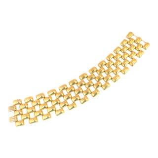 Mid-Century Kreisler Geometric Open-Link Vermeil Bracelet 1940s For Sale