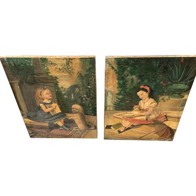 """19th CenturyFolk Art Paintings, """"Learning to Read and to Write"""" With a Dog and a Cat - a Pair For Sale - Image 4 of 13"""