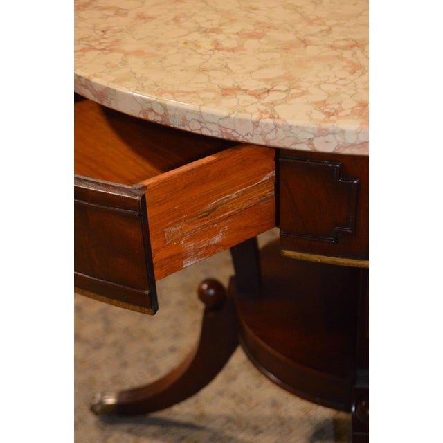 Mahogany Round Marble Top Table - Image 3 of 11