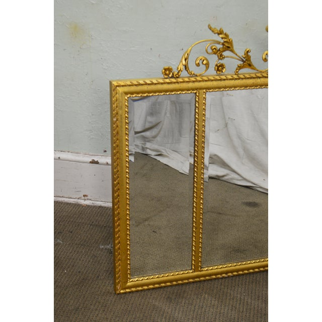 Gold La Barge Neo-Classical Style Gilt 3 Section Beveled Mirror With Urn For Sale - Image 8 of 12