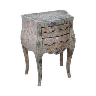 Tile Mosaic Louis XV Style Small Bombe Accent Chest Commode For Sale