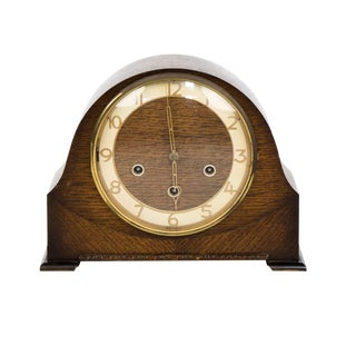 Smiths of Great Britain Art Deco Wooden Mantle Clock For Sale