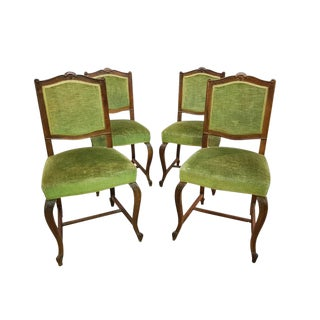 Set of Four Antique French Square Back Oak Dining Chairs Original Green Velvet Upholstery Cabriole Legs For Sale