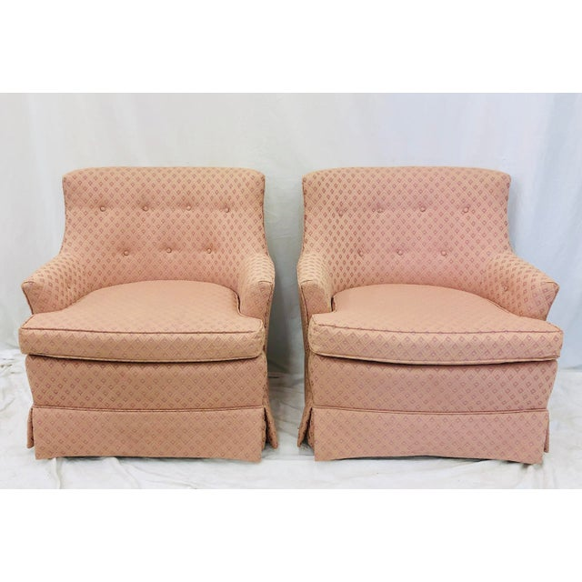 Fine Pair Vintage Tufted Button Back Club Chairs Pabps2019 Chair Design Images Pabps2019Com