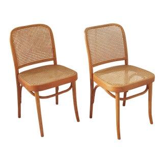 1970s Mid-Century Modern Josef Hoffmann Prague Chairs - a Pair