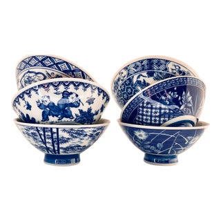 Contemporary Japanese Blue & White Porcelain Rice Bowls - Set of 6 For Sale