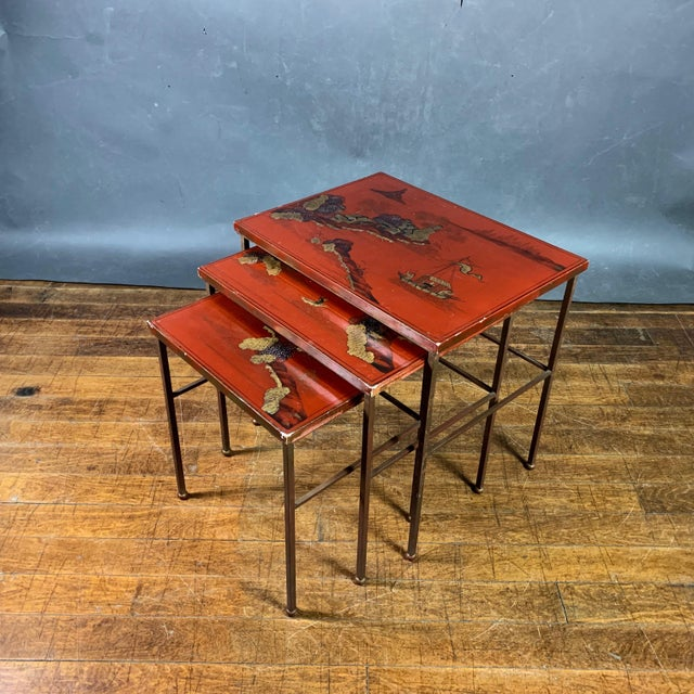 19th Century Chinese Red Lacquered Nesting Tables - Set of 3 For Sale - Image 13 of 13