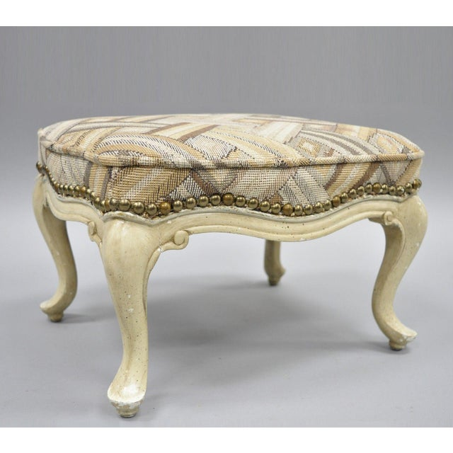 Petite French Provincial Louis XV Style Cream Painted Ottoman Small Footstool For Sale - Image 12 of 12