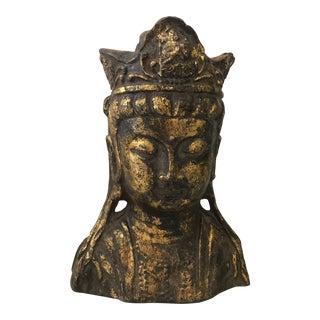 Gold Leaf Metal Buddha Head For Sale