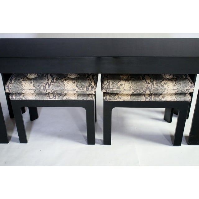 Parson Style Black Lacquered Console Table and Benches - Image 6 of 11