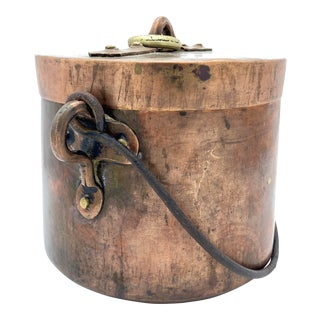 Antique French Copper Pot With Lid For Sale
