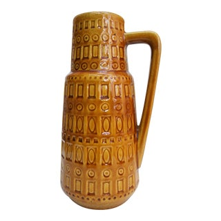 1960s Mid-Century West German Scheurich Keramik Inka Mustard Ceramic Pitcher For Sale