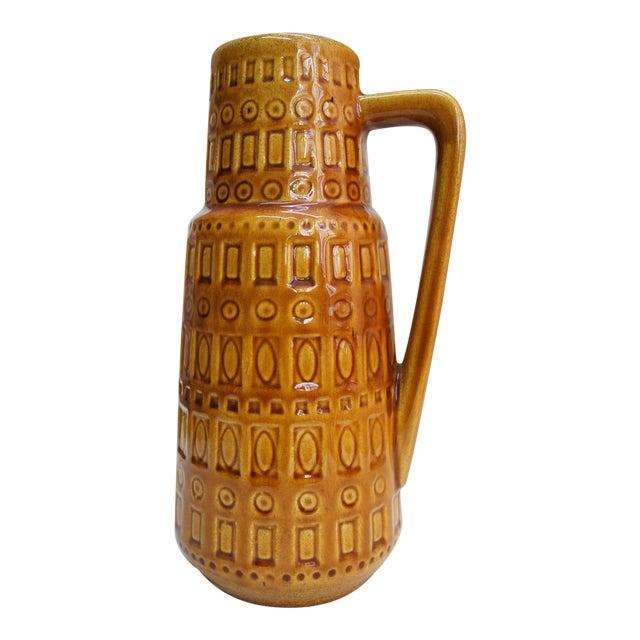 1960s Mid-Century West German Scheurich Keramik Inka Mustard Ceramic Pitcher For Sale