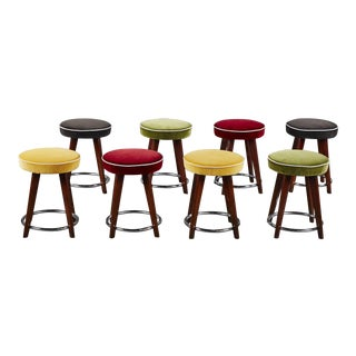 """A Set of Five Italian Charming Petite 18"""" Stools For Sale"""