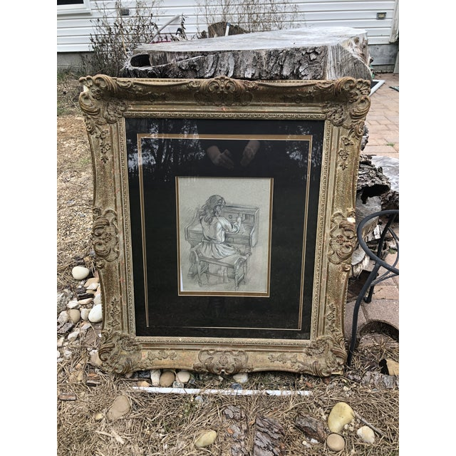 This antique Baroque gilded and mottled frame is a Rare item for that specific decor. As a bonus, this frame includes...