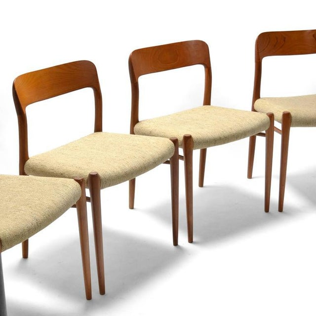 Tan Niels O. Møller Set of Six Model 75 Chairs For Sale - Image 8 of 9