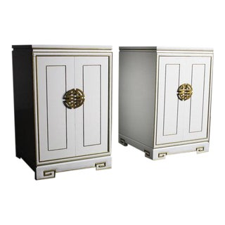 White Regency End Tables/Cabinets With Stunning Gold Trim Detailing - Pair For Sale
