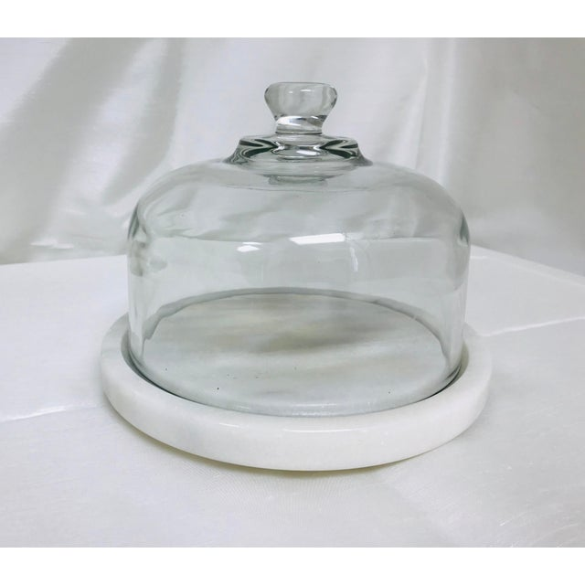 White Vintage Quartz & Glass Covered Cheese Serving Dish For Sale - Image 8 of 8