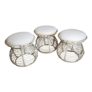 Upholstered Rattan Mushroom Stools - Set of 3 For Sale