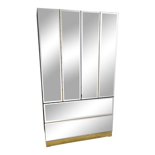 1980s Modern Mirrored Armoire For Sale