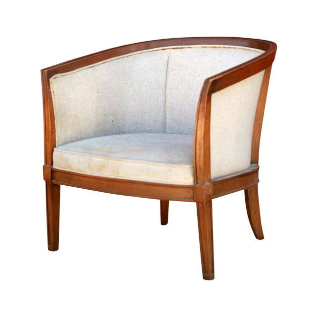 1930s Art Deco Barrel Back Club Chair For Sale
