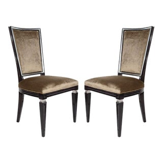 Pair of Elegant Hollywood Regency High Back Chairs in Velvet For Sale