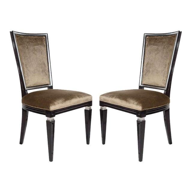 Pair of Elegant Hollywood Regency High Back Chairs in Velvet For Sale