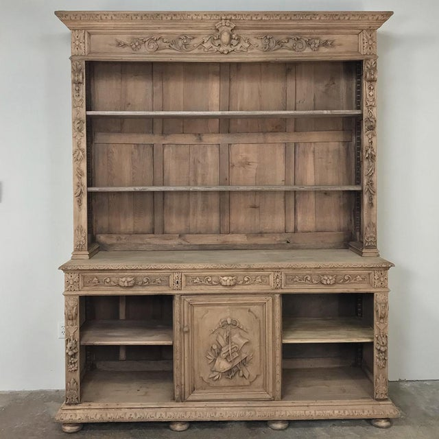 19th Century French Renaissance Stripped Oak Bookcase For Sale - Image 4 of 13