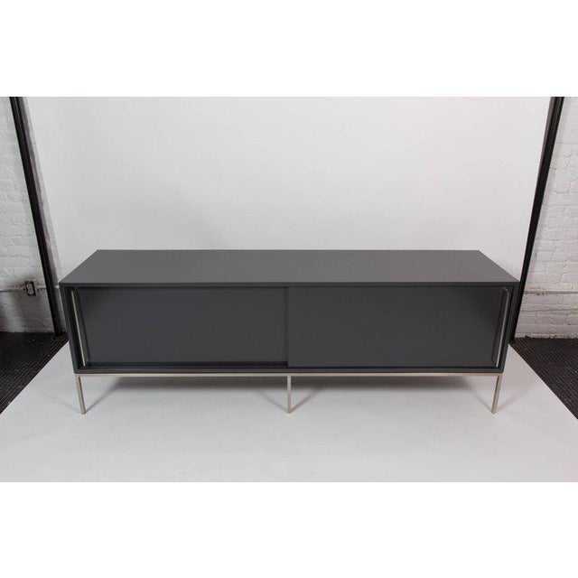 Re 379 Credenza in Wrought Iron With White Doors on Black Base For Sale In New York - Image 6 of 13