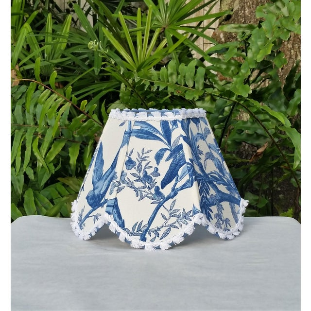 Not Yet Made - Made To Order Blue White Toile Floral Clip On Lamp Shade For Sale - Image 5 of 11