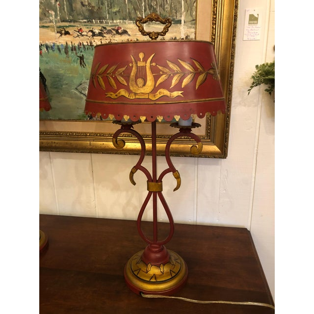 Red Vintage Deep Red and Gold Tole Table Lamps With Lyre Decoration and Shades - a Pair For Sale - Image 8 of 11