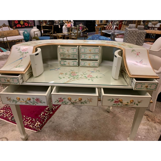 Jasper Cabinet Company Hand Painted Chinoiserie Desk Vanity & Chair For Sale - Image 9 of 13