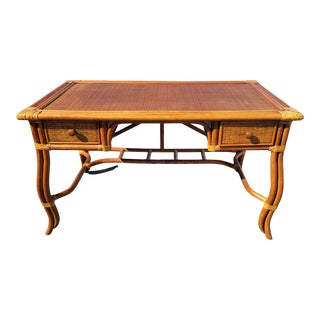 Vintage French Country Tiki Palm Beach Style Bamboo Rattan Writing Desk W Drawers For Sale