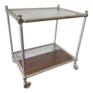Vintage Nickel Silver Metal Rolling Bar Cart For Sale