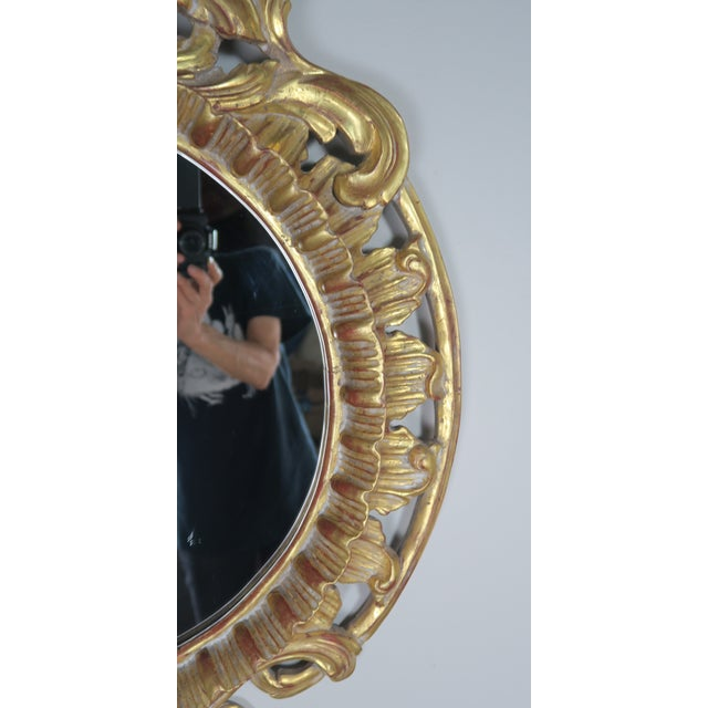 Gold French Gilt Wood Rococo Style Round Shaped Mirror For Sale - Image 8 of 11