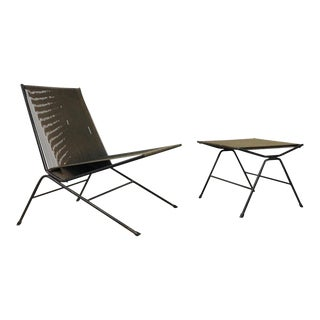 Allan Gould String Lounge Chair and Ottoman, 1952 For Sale