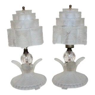 Vintage Art Deco Nouveau Lalique Frosted Glass Skyscraper Lamps - a Pair For Sale