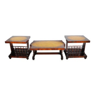 Vintage French Mahogany Coffee Table and 2 Side Tables with Leather Tops - Set of 3 For Sale