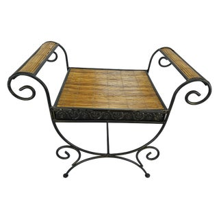 Wrought Iron & Pencil Rattan Bench