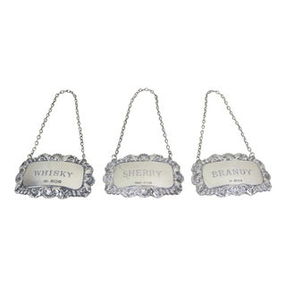 English Silver Bottle Tags - Set of Three For Sale