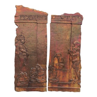 Post Modern Iridescent Relief Mayan Wall Hanging Sculpture Art - a Pair For Sale