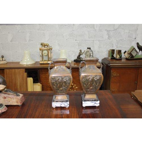 Big Pair of French Art Deco Vase With Marble Base Circa 1935s For Sale - Image 9 of 10